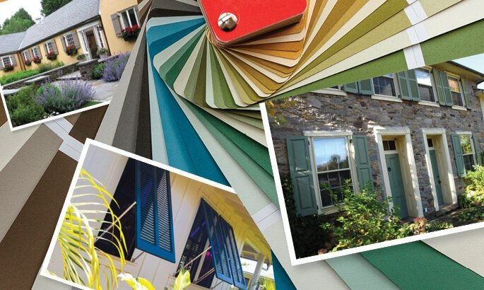 Photo collage of installed Timberlane painted shutters and color swatch samples