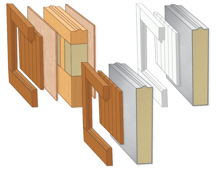 detailed illustration of the construction method of a Timberlane custom garage door