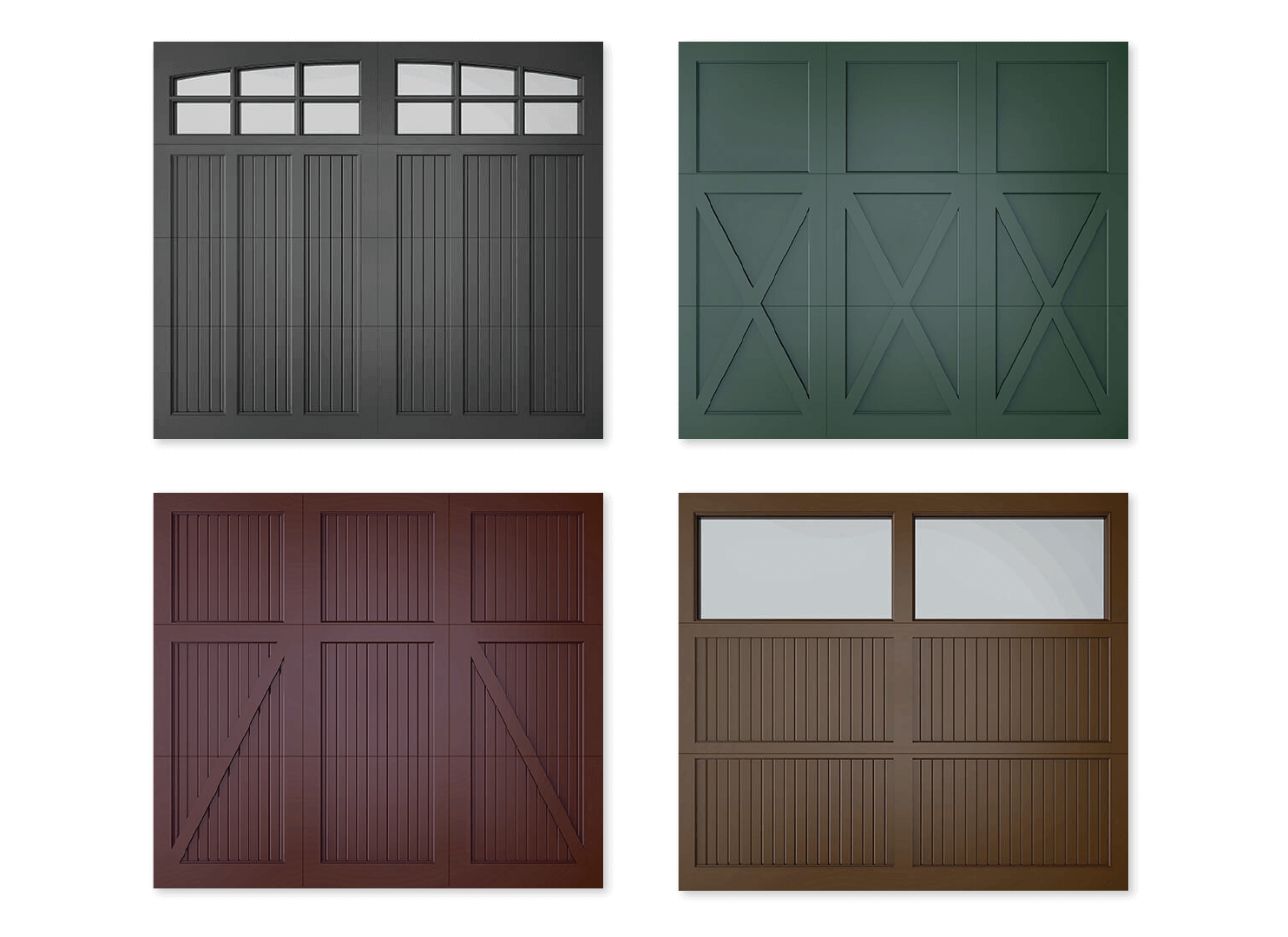 Timberlane offers multiple garage door styles including classic, carriage, trifold, and farmhouse